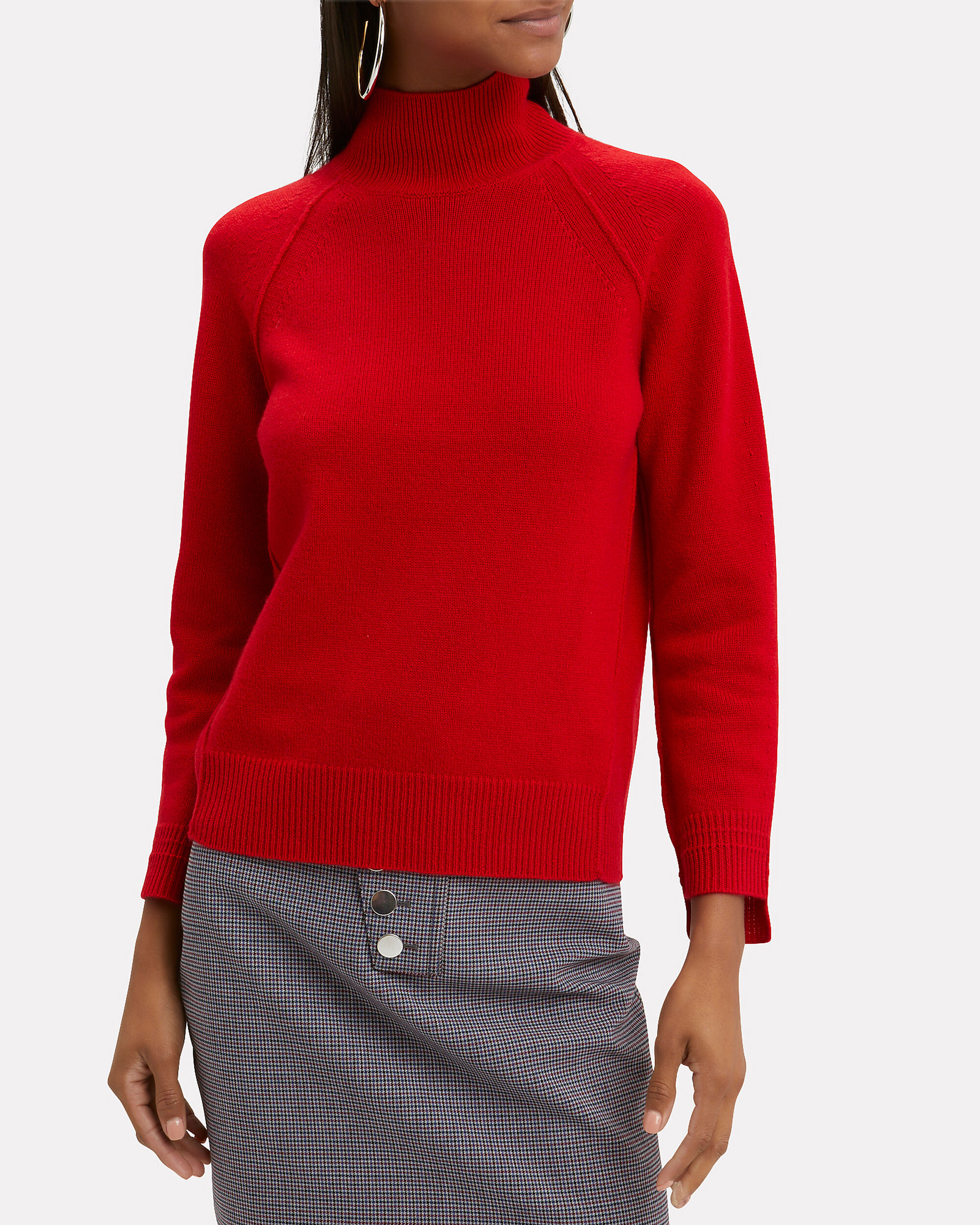 Cashmere Red Turtleneck Sweater, RED, hi-res