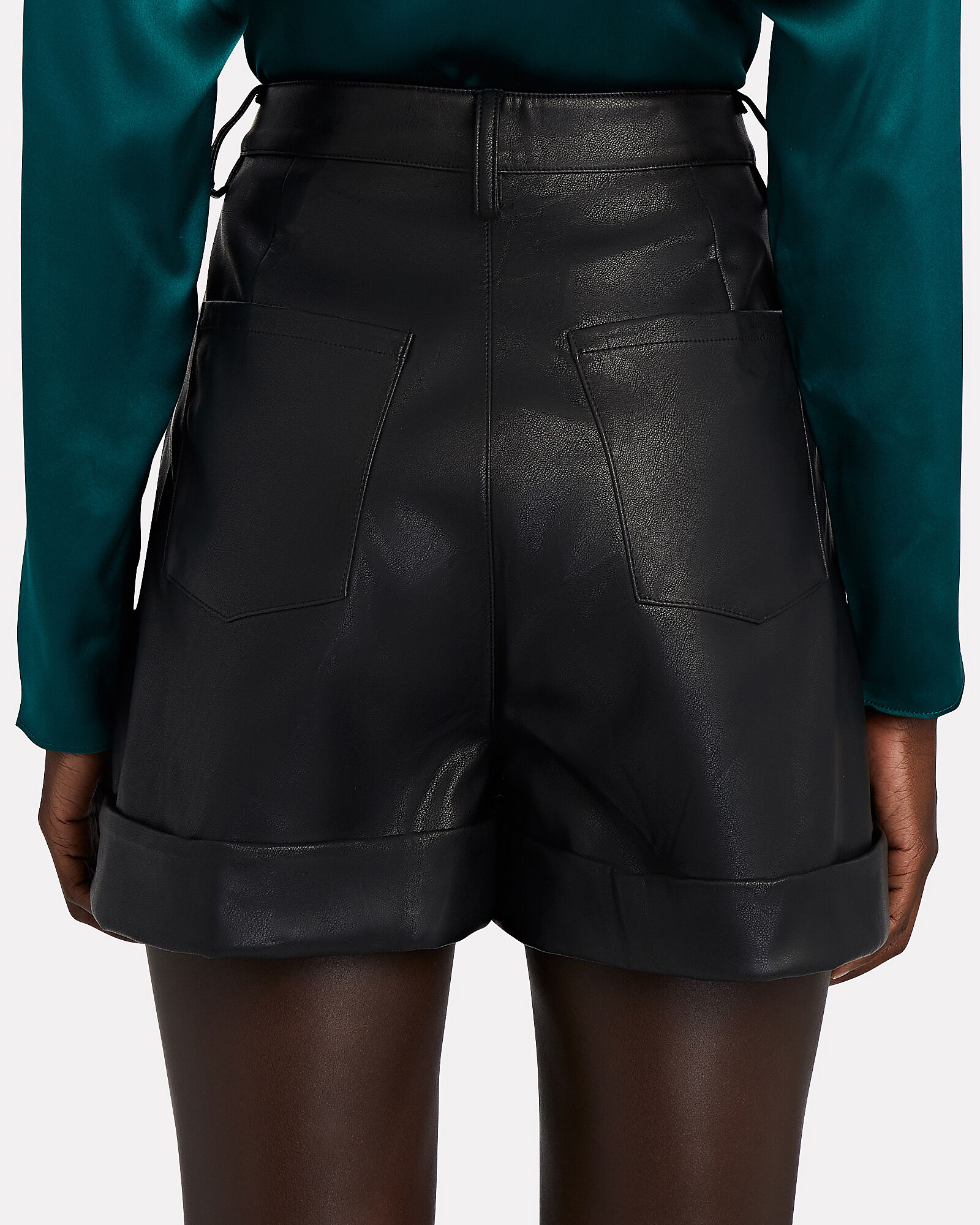 Vegan Leather Cuff Shorts, BLACK, hi-res