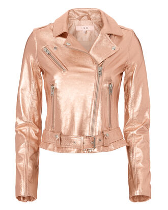 Brooklyn Rose Gold Leather Moto Jacket, METALLIC, hi-res