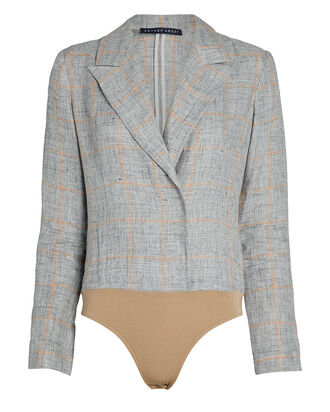 Checked Linen Blazer Bodysuit, GREY/CARAMEL WINDOWPANE, hi-res