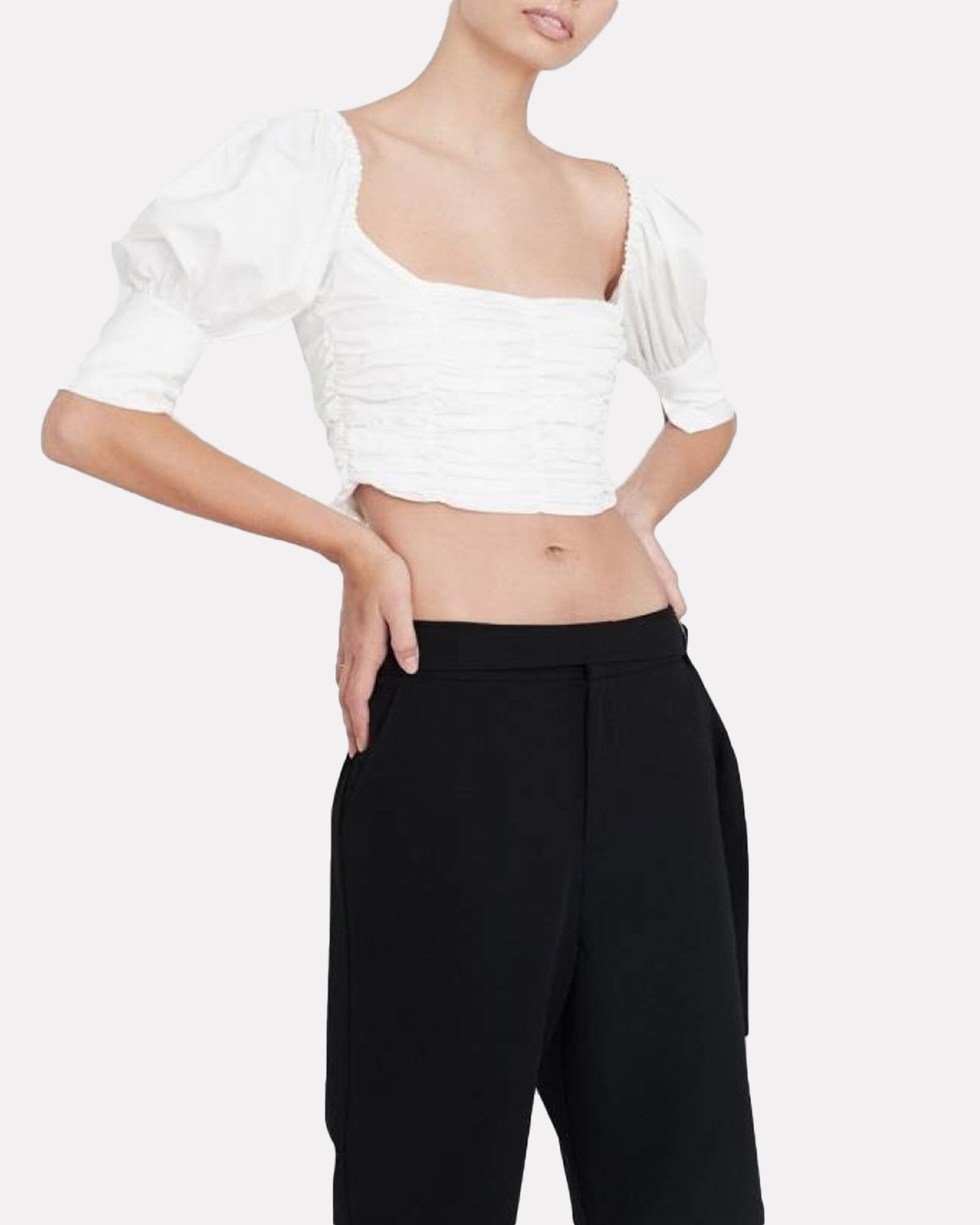 Puff Sleeve Crop Top, WHITE, hi-res