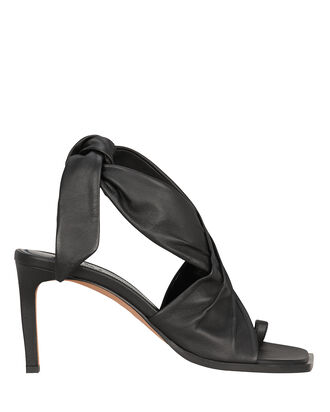 Axel Tie Ankle Leather Sandals, BLACK, hi-res