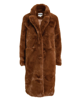 Laure Faux Fur Coat, CARAMEL, hi-res