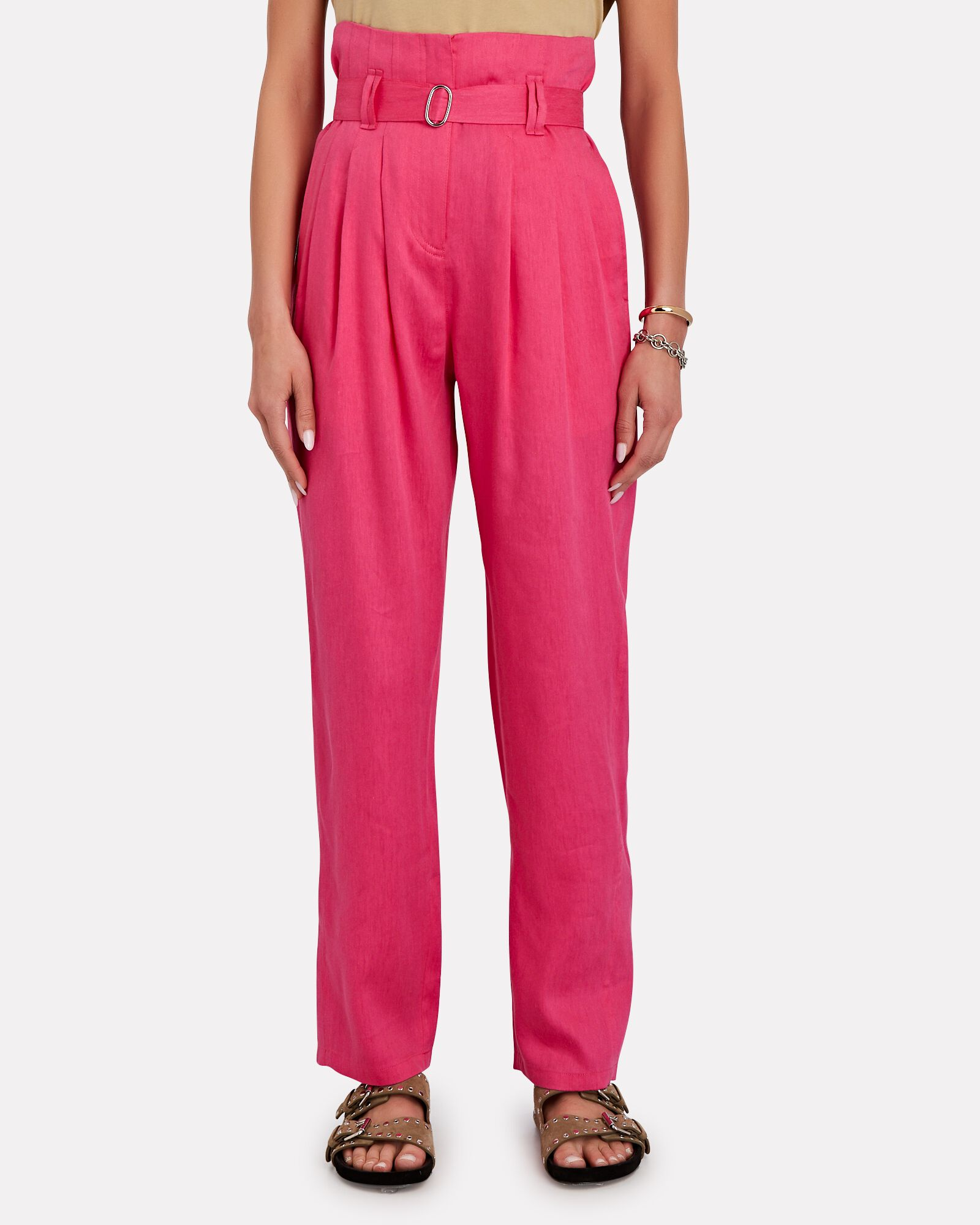Margate Pleated Paperbag Trousers, PINK, hi-res