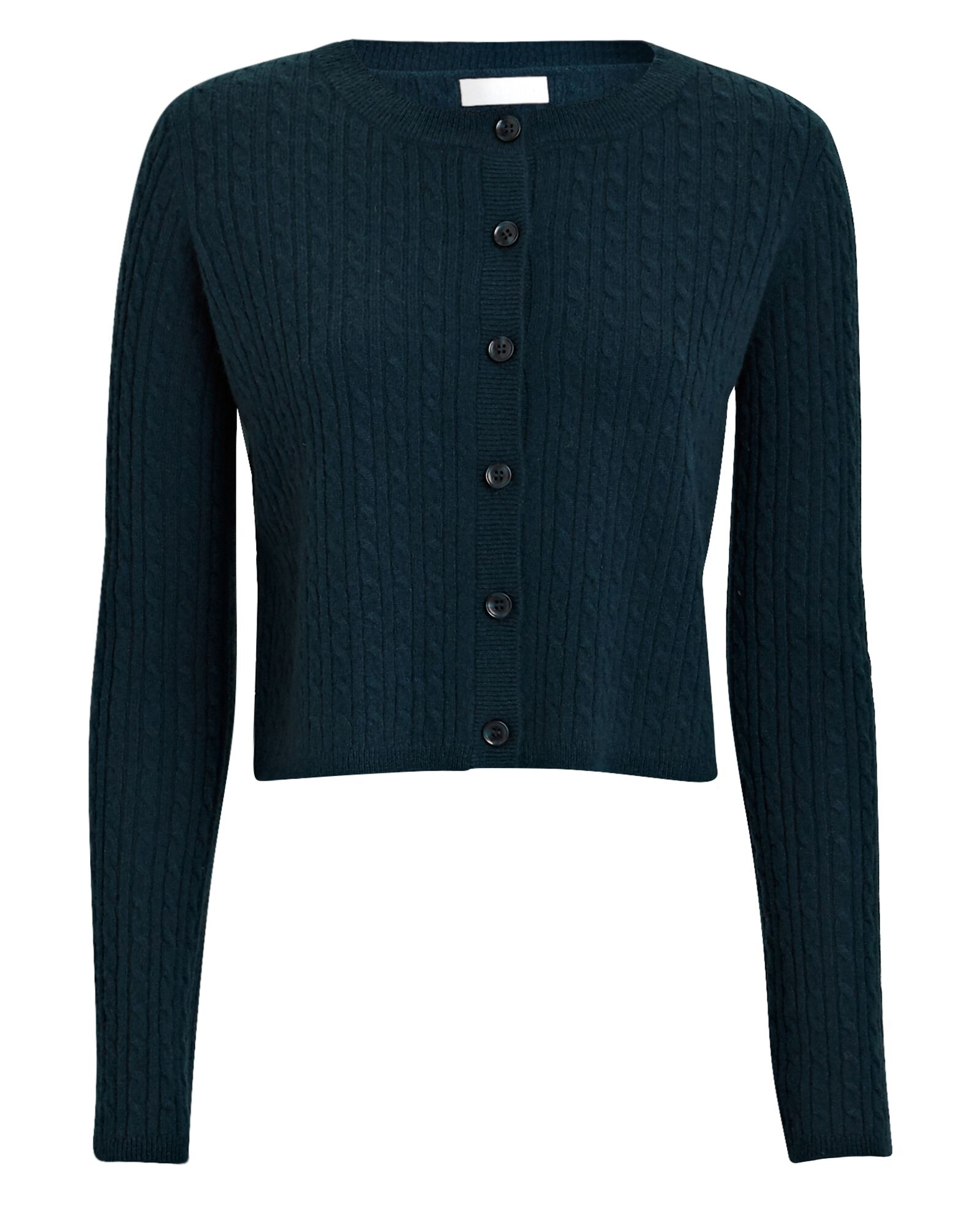 Cleo Cable Knit Cashmere Cardigan, GREEN, hi-res