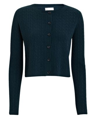 Cleo Cable Knit Cashmere Cardigan, DARK BLUE, hi-res
