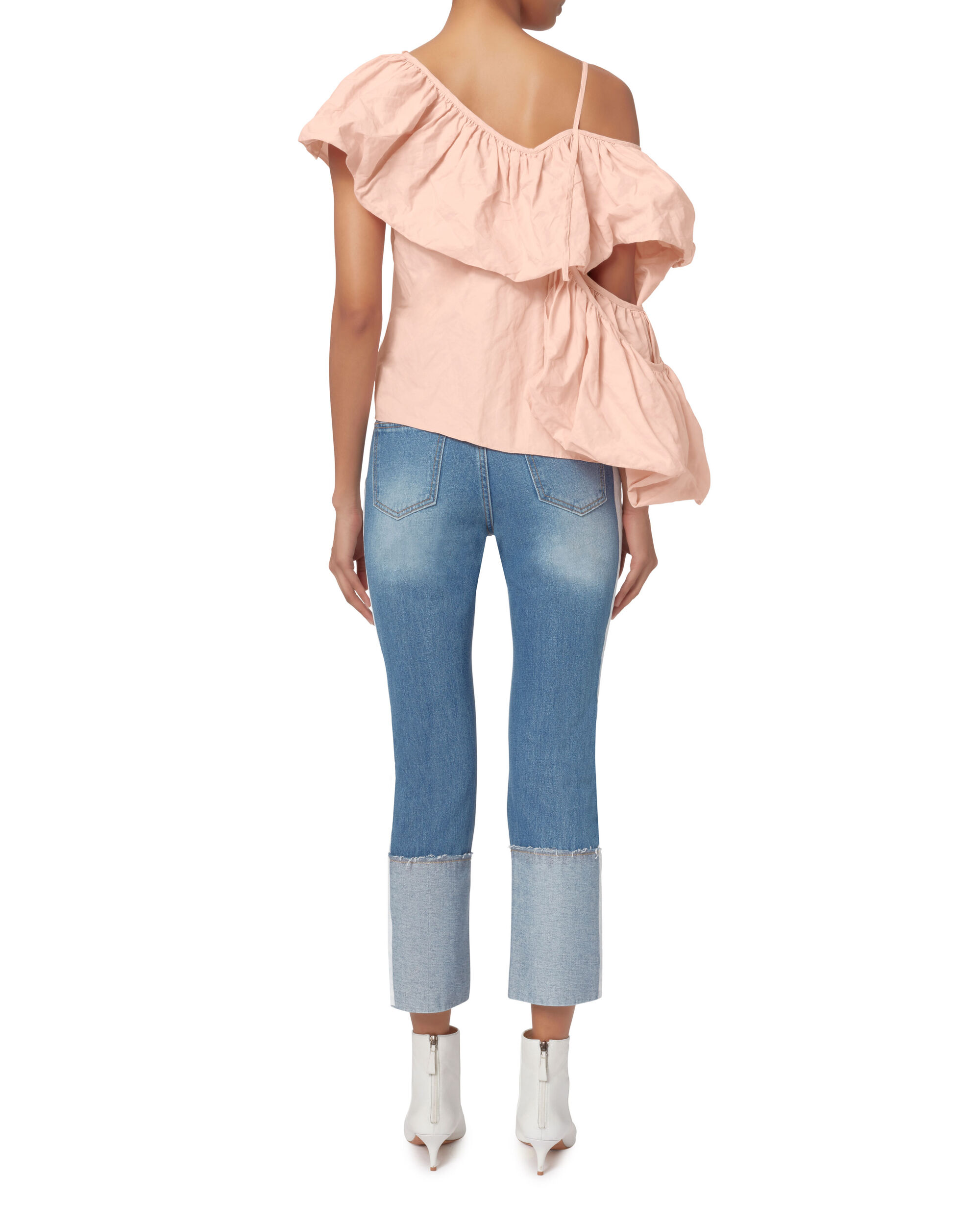 Exaggerated Ruffle One Shoulder Top, BLUSH, hi-res
