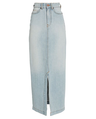 Split Denim Midi Skirt, LIGHT WASH DENIM, hi-res