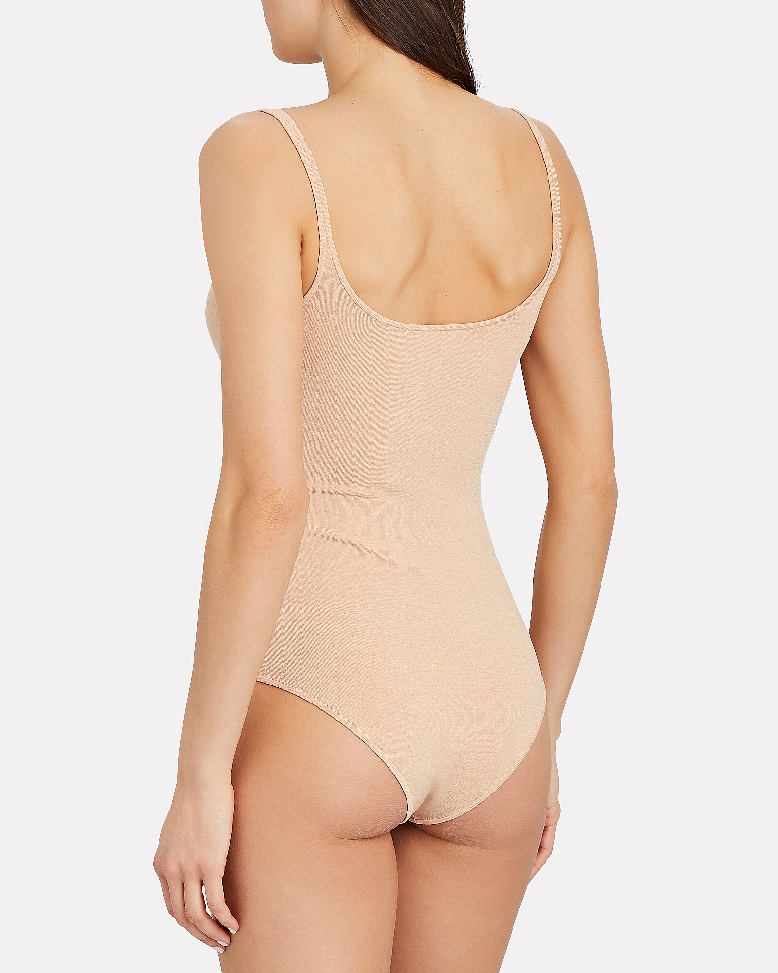 Strappy Hosiery Scoop Bodysuit, BEIGE, hi-res