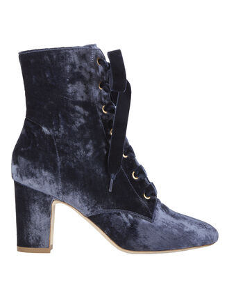 Ally Lace-Up Velvet Booties, BLUE, hi-res