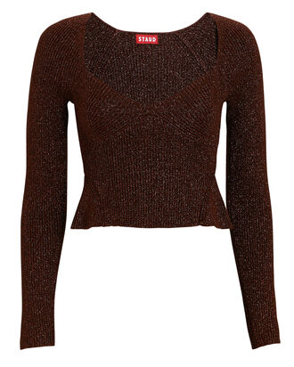 Cherro Lurex Sweetheart Sweater, BROWN, hi-res