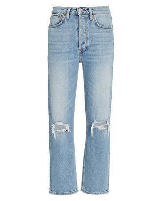 70s High-Rise Stove Pipe Jeans, LIGHT DESTROYED, hi-res
