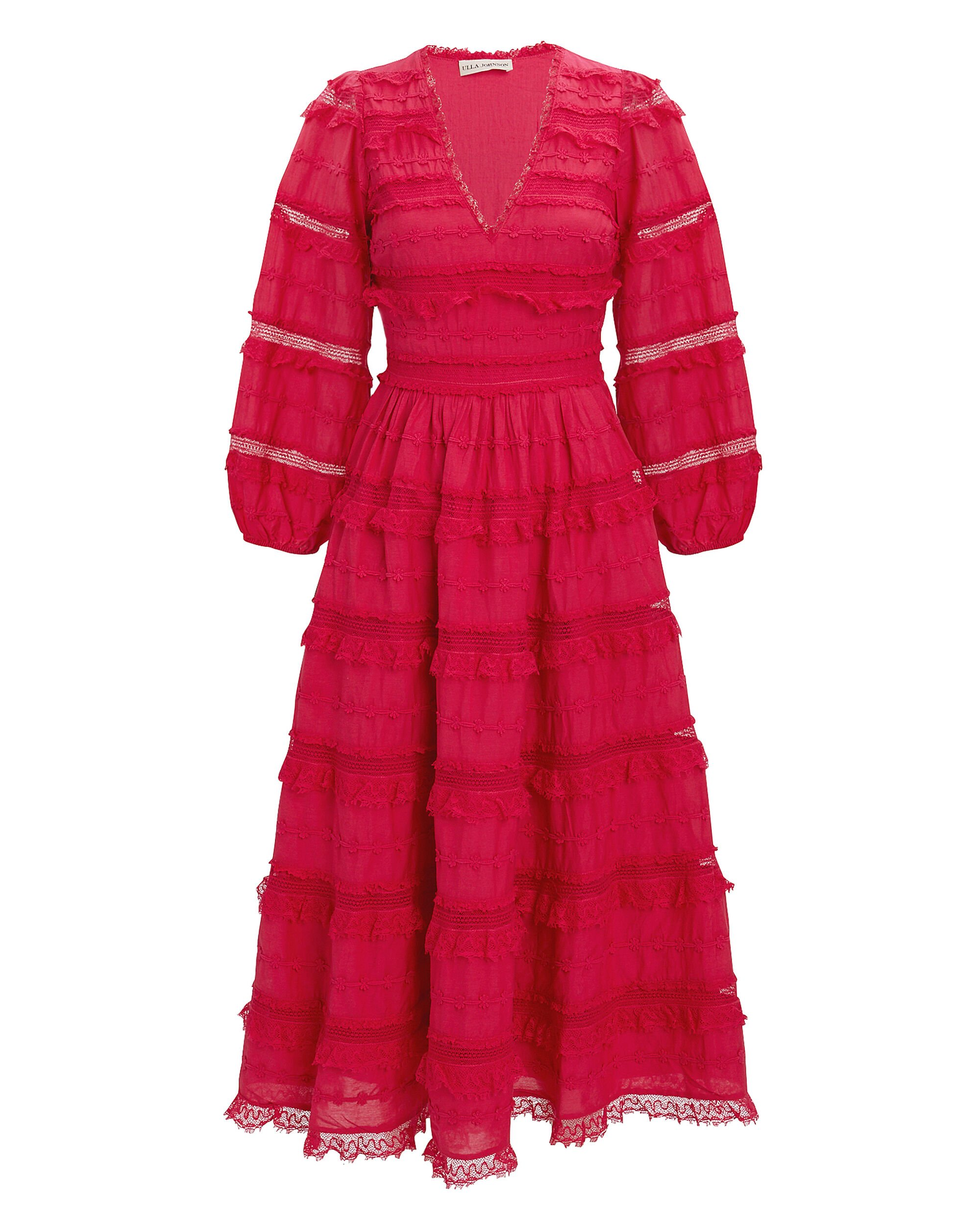 Charline Red Lace Midi Dress, RED, hi-res
