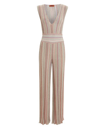 Lurex Stripe Jumpsuit, PURPLE-LT, hi-res