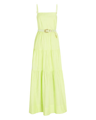 Kerala Tiered Poplin Maxi Dress, GREEN-LT, hi-res