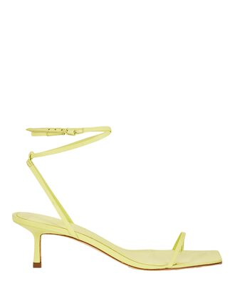 Ankle Bind Leather Wrap Sandals, YELLOW, hi-res