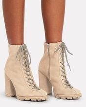 Naina Lace-Up Booties, BROWN, hi-res