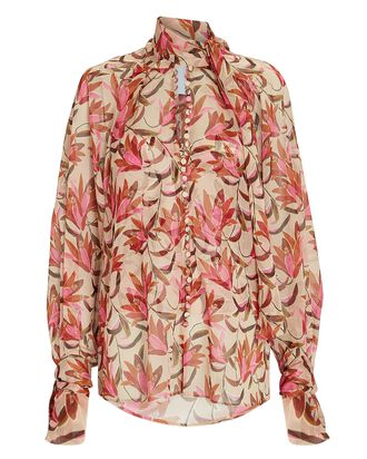 Cathedral Floral Chiffon Blouse, BEIGE/PINK, hi-res