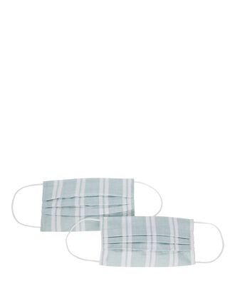 Pleated Stripe Face Mask 2-Pack, BLUE-LT, hi-res