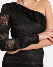 Ilana Lace One-Shoulder Dress, BLACK, hi-res