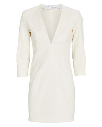 Lendy Leather Mini Dress, WHITE, hi-res