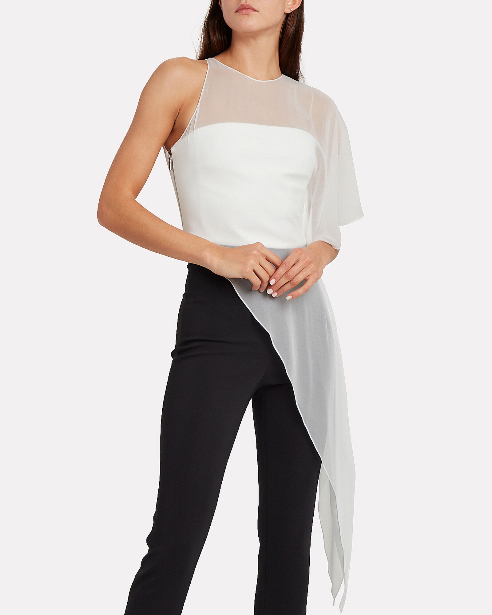 Asymmetric Silk Chiffon Blouse, WHITE, hi-res