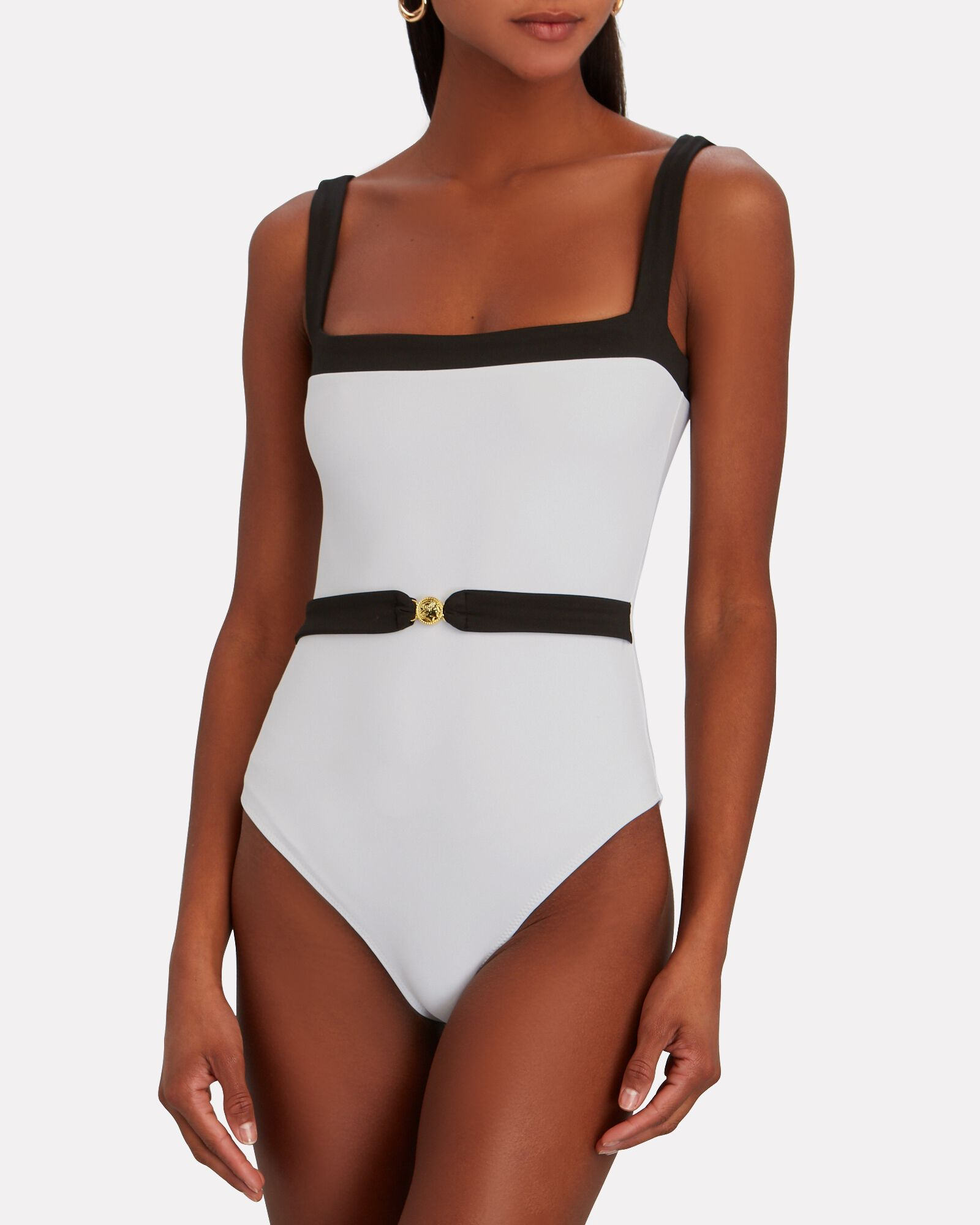 Davey Belted One-Piece Swimsuit, WHITE, hi-res