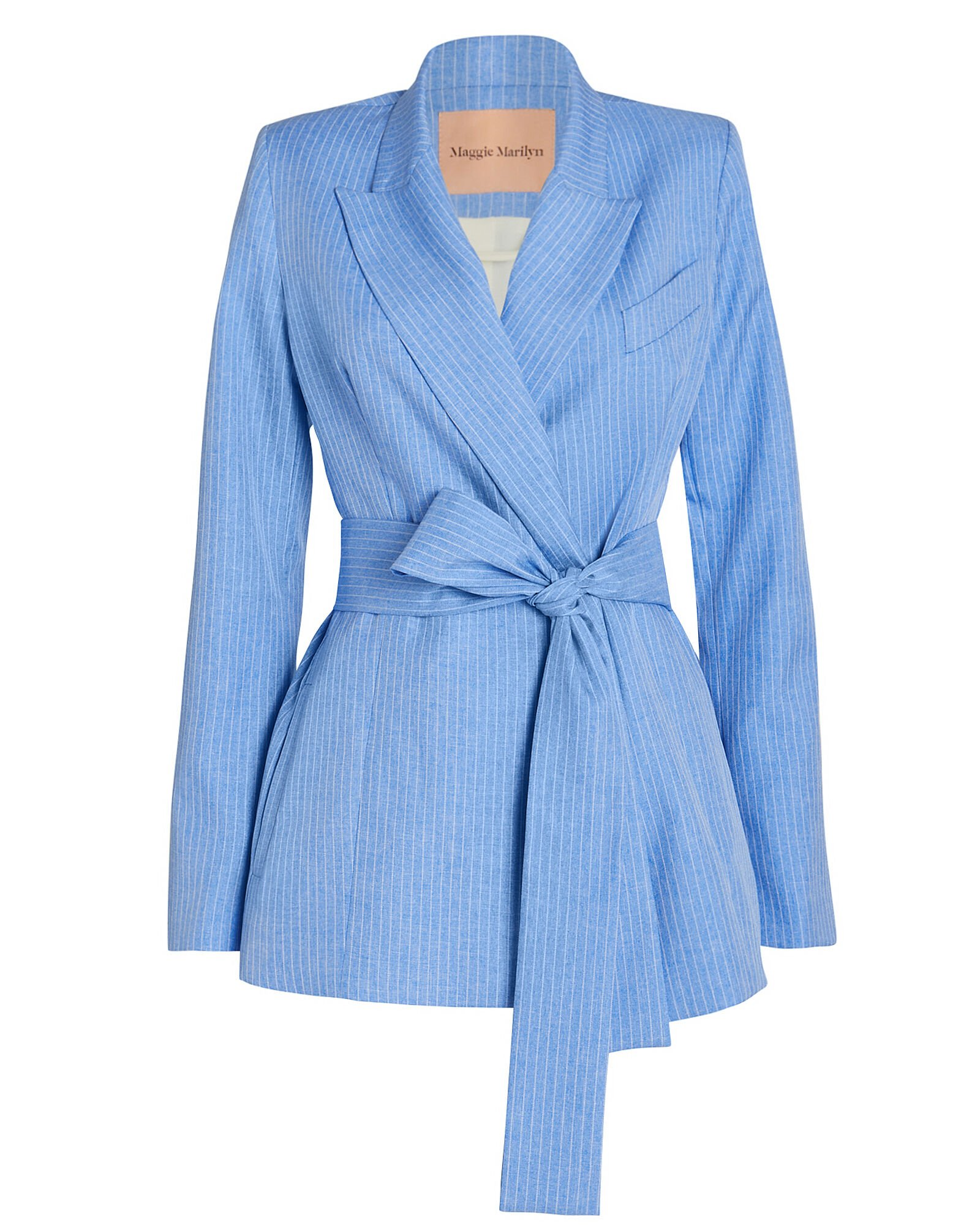 Just Getting Started Tie Waist Blazer, BLUE-LT, hi-res