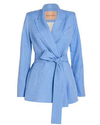 Just Getting Started Tie Waist Blazer, BLUE, hi-res