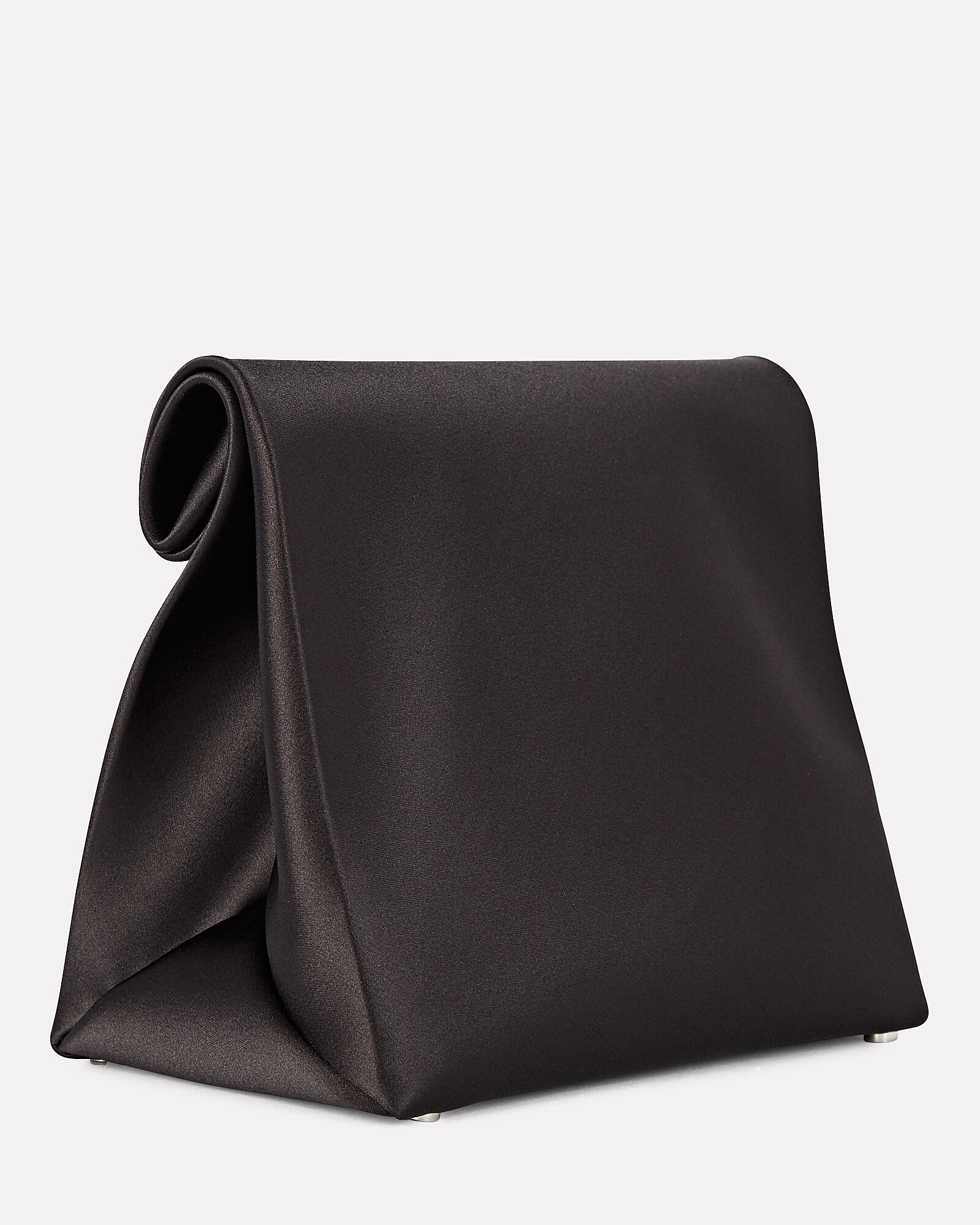 Satin Lunch Bag Clutch, BLACK, hi-res