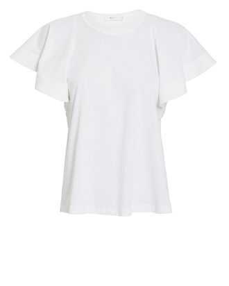 Carrie Ruffled Jersey T-Shirt, WHITE, hi-res