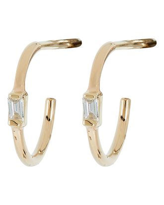Baguette Diamond Vertical Huggie Earrings, GOLD, hi-res