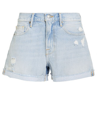 Le Brigette Raw Denim Shorts, LIGHT BLUE DENIM, hi-res