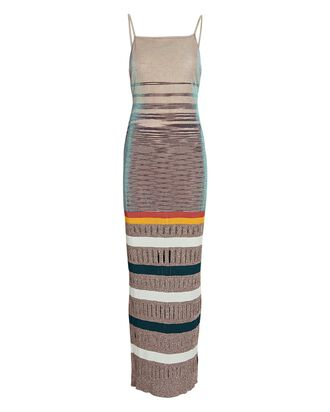 Metallic Space Dyed Knit Maxi Dress, BEIGE, hi-res