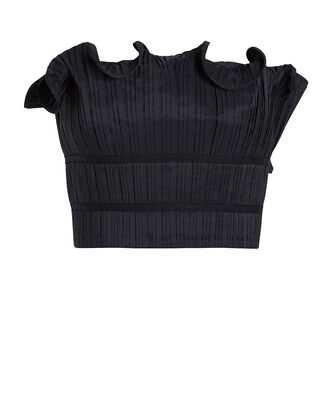 Oriel Pleated Crop Top, BLACK, hi-res