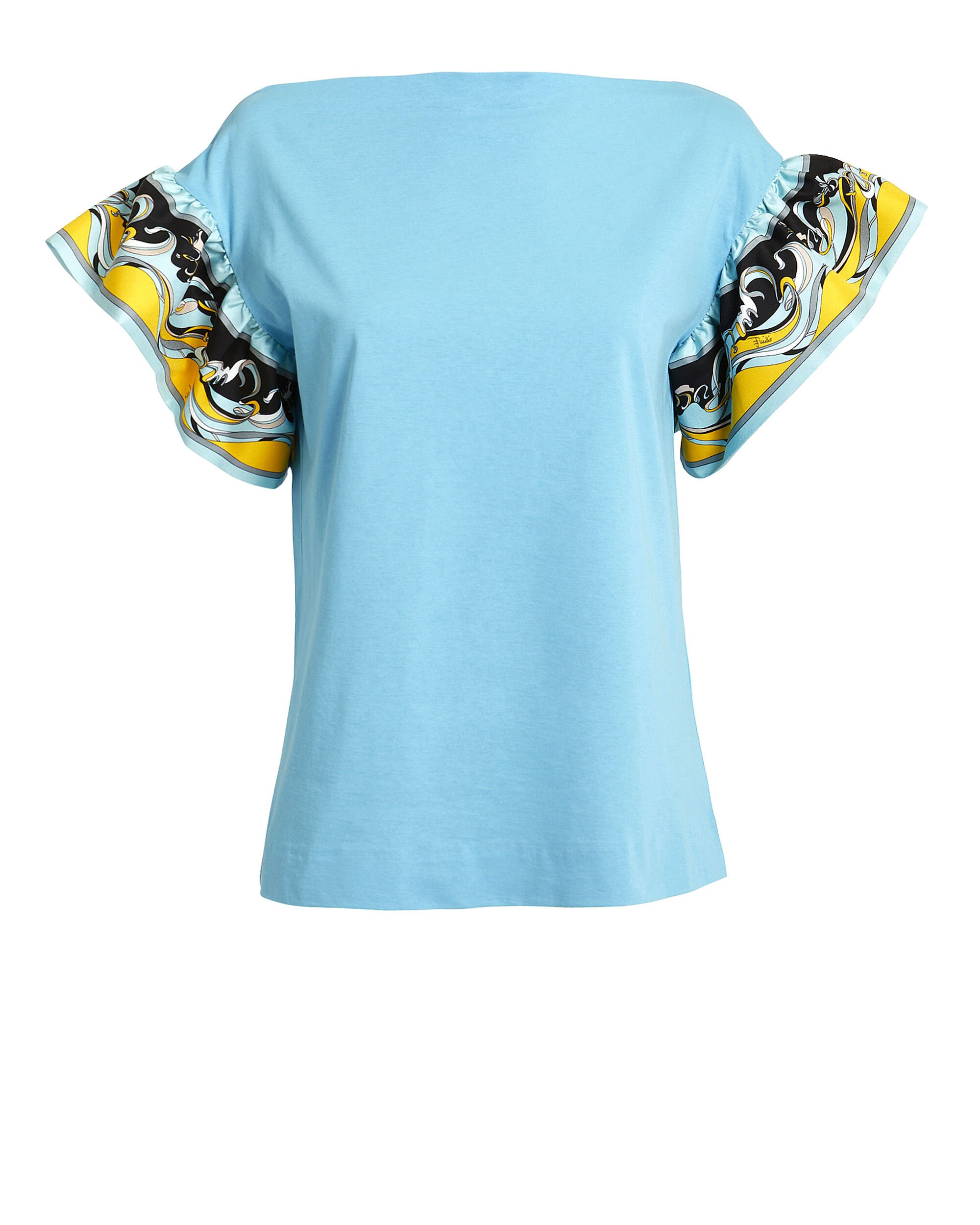 Printed Ruffle Sleeve T-Shirt, BLUE, hi-res