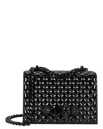 Quilted Crossbody Jewel Satchel, BLACK, hi-res