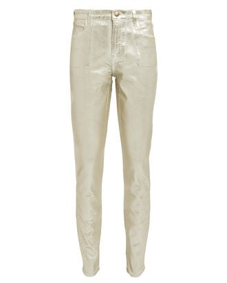 Maria Coated High-Rise Skinny Corduroy Jeans, GOLD, hi-res
