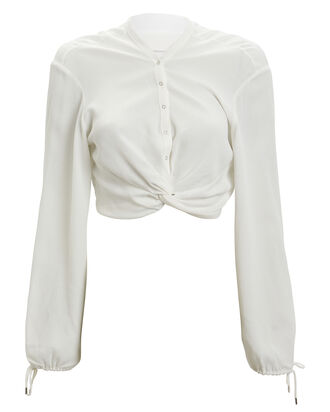 Twist Placket Crepe Top, IVORY, hi-res