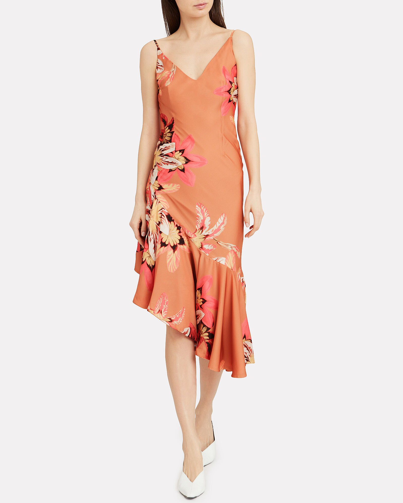 Carmen Asymmetric Slip Dress, MULTI, hi-res