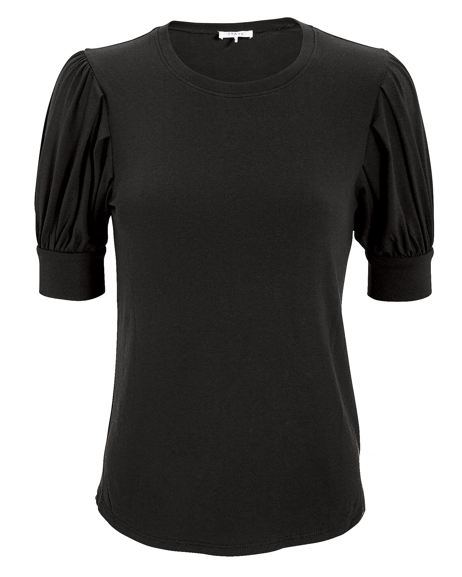Balloon Sleeve Cotton T-Shirt, BLACK, hi-res