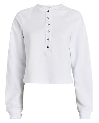 Cotton Fleece Henley Sweatshirt, WHITE, hi-res