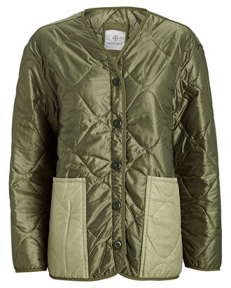 Andy Quilted Bomber Jacket, OLIVE, hi-res