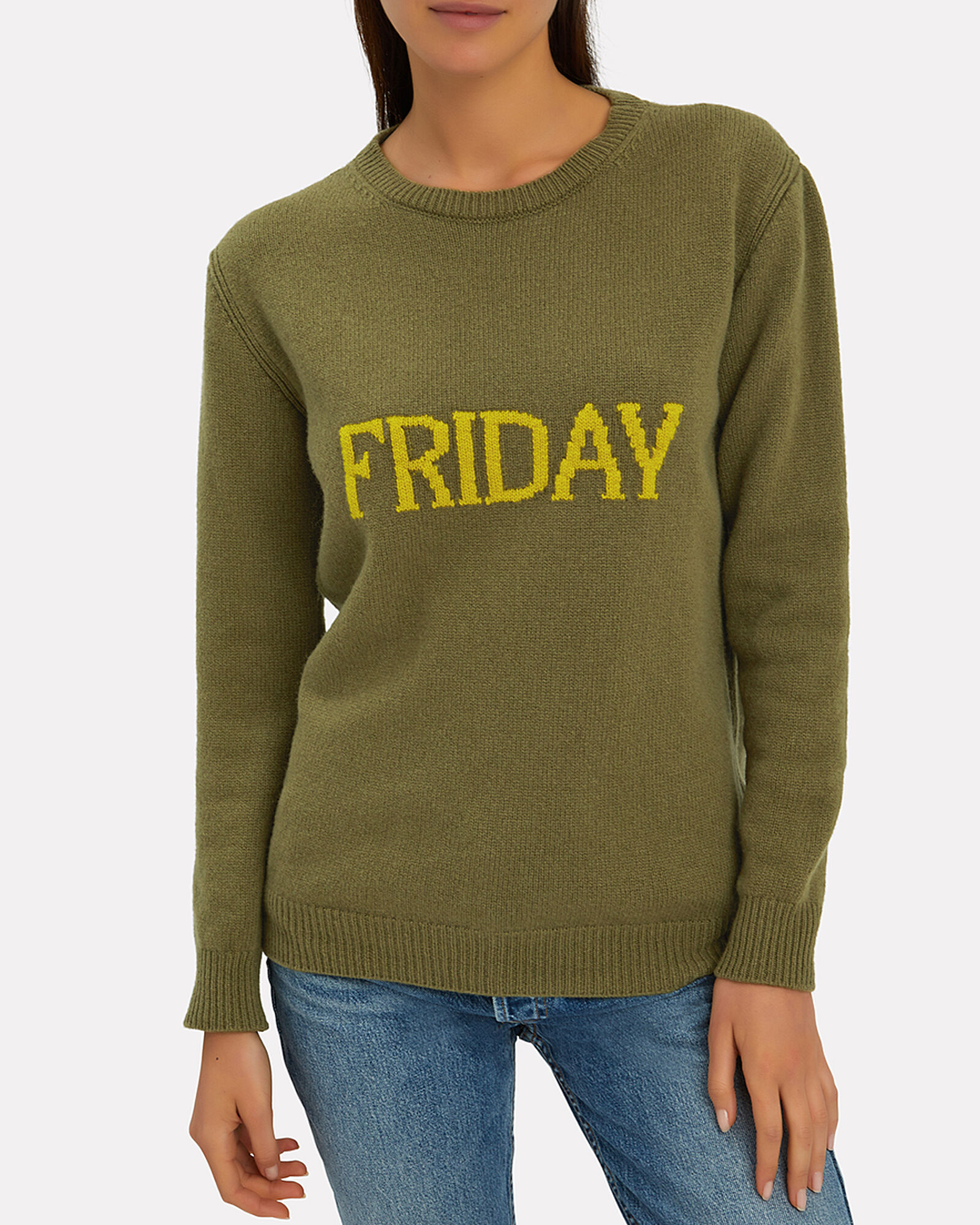 Friday Wool-Cashmere Crewneck Sweater, OLIVE/ARMY, hi-res