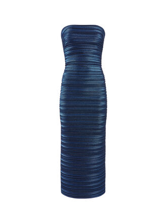 Blue Strapless Shine Dress, BLUE, hi-res