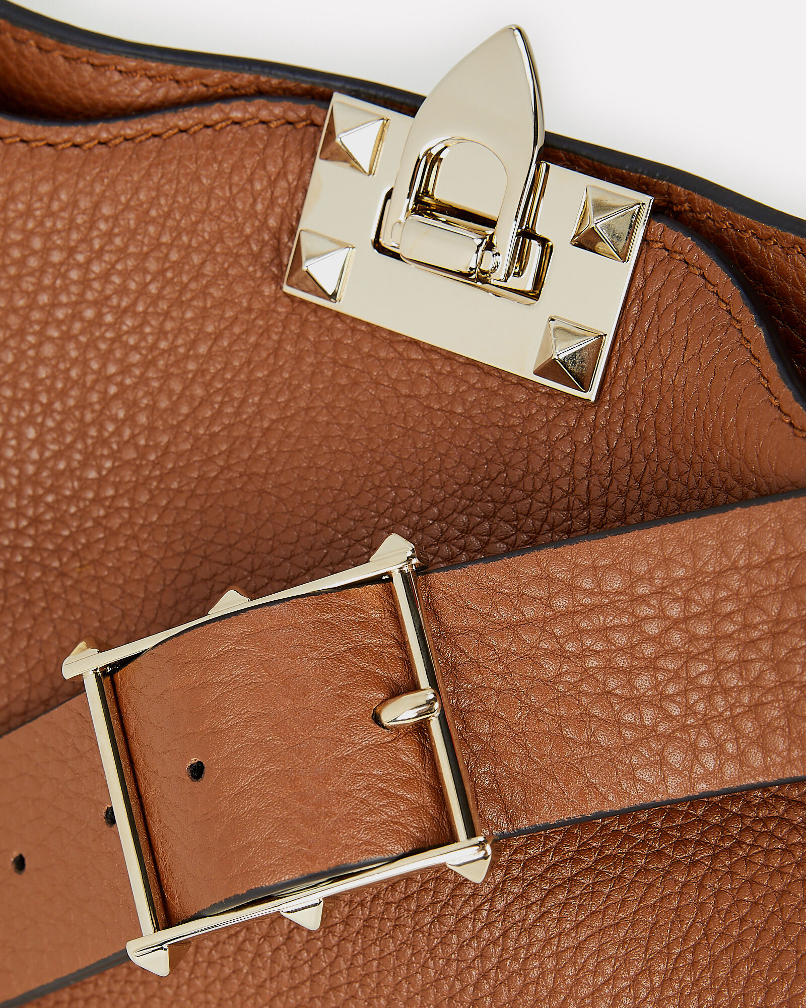 Rockstud Leather Messenger Bag, BROWN, hi-res