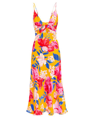 Annika Floral Midi Dress, YELLOW/FLORAL, hi-res