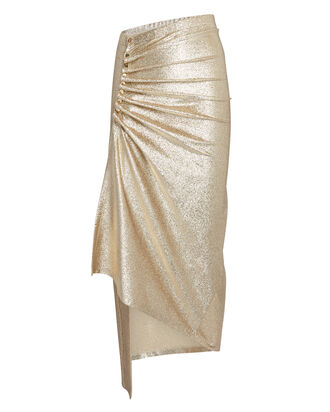 Asymmetric Ruched Metallic Midi Skirt, GOLD, hi-res