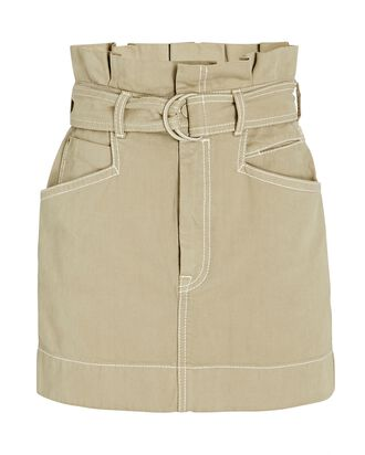 Utility Belted Denim Mini Skirt, BEIGE, hi-res