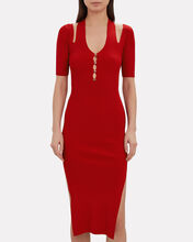 Button Front Knit Midi Dress, RED, hi-res